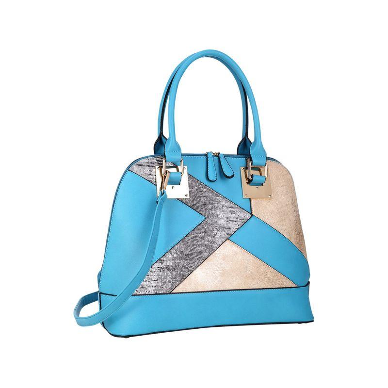 ダセイン メンズ ハンドバッグ バッグ Round Leather Satchel with Semi Metallic Patch Design Turquoise