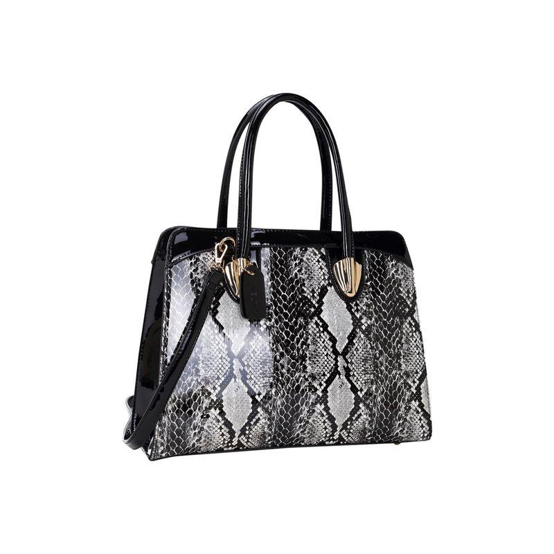 ダセイン メンズ ハンドバッグ バッグ Patent Faux Leather with Snake Skin Detail Shoulder Bag Black