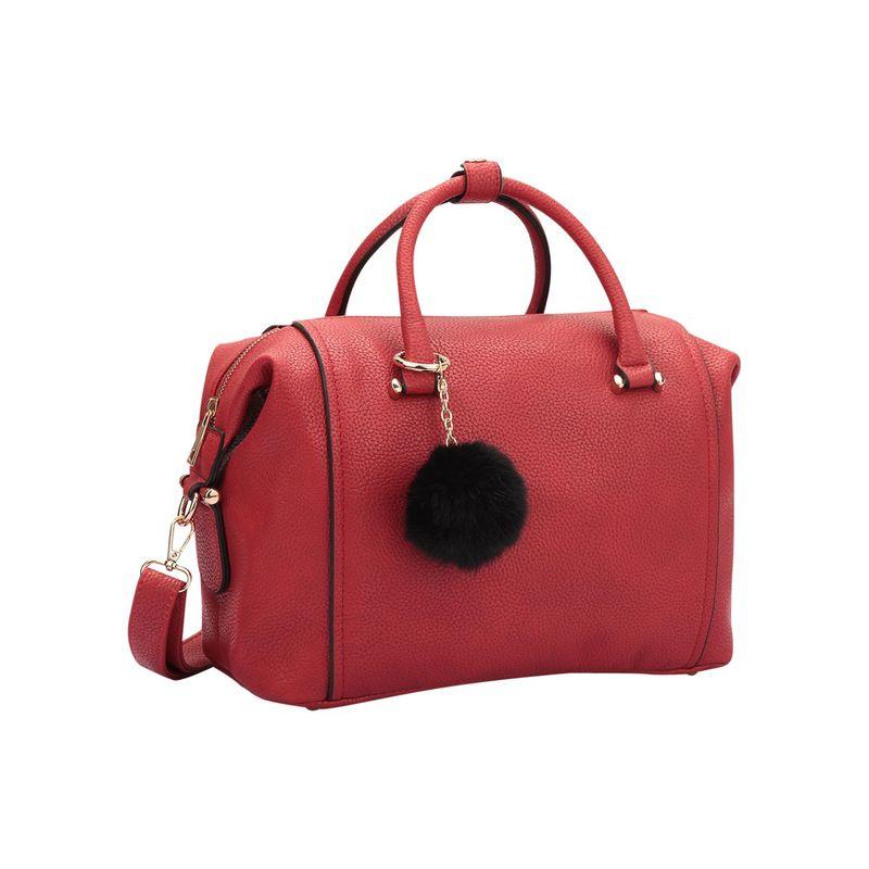 ダセイン メンズ ハンドバッグ バッグ Faux Leather Satchel with PomPom Red