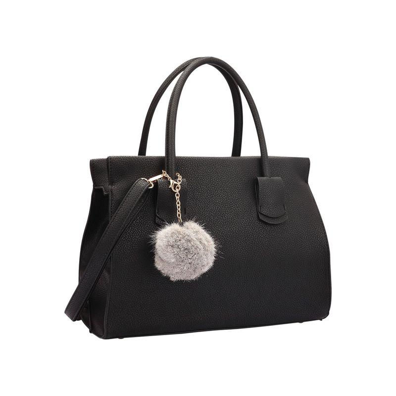 ダセイン メンズ ハンドバッグ バッグ Leather Handle Satchel with Faux Fur Ball Black