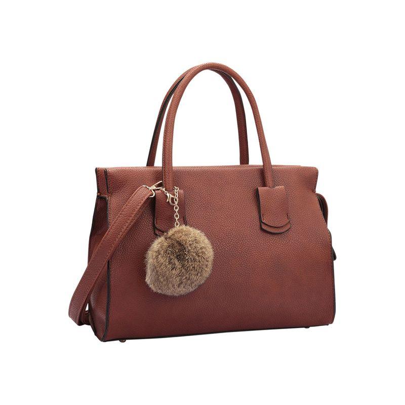 ダセイン メンズ ハンドバッグ バッグ Leather Handle Satchel with Faux Fur Ball Brown