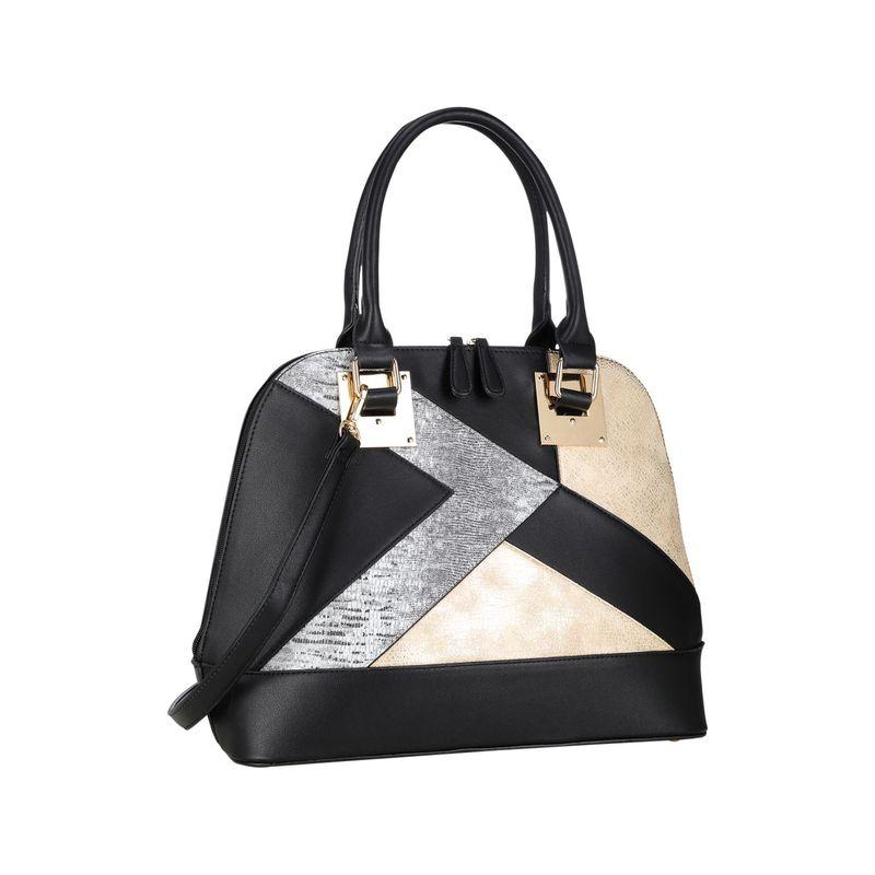 ダセイン メンズ ハンドバッグ バッグ Round Leather Satchel with Semi Metallic Patch Design Black