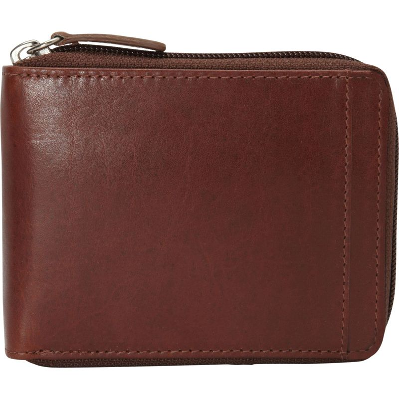 マンシニレザーグッズ メンズ 財布 アクセサリー Casablanca Collection: Men's RFID Zippered Wallet with Removable Passcase Cognac