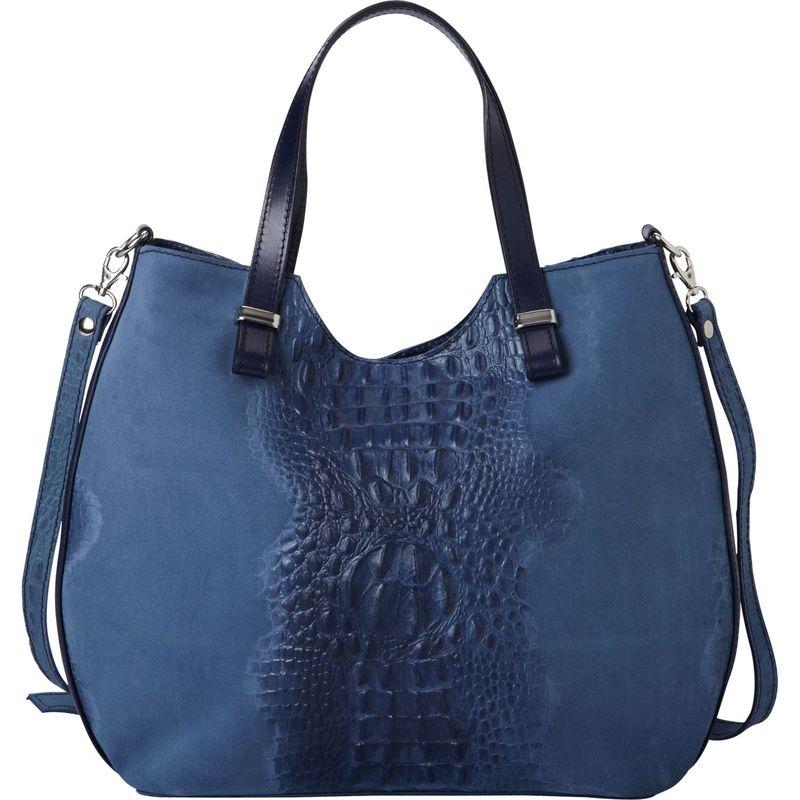 シャロレザーバッグス メンズ ハンドバッグ バッグ Alligator Textured Italian Made Leather Tote and Shoulder Bag Blue