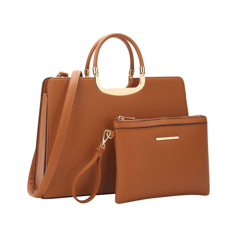 ダセイン メンズ ハンドバッグ バッグ Fashion Briefcase Satchel with Matching Accessory Pouch Brown