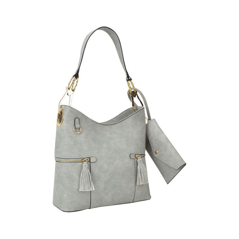 ダセイン メンズ ハンドバッグ バッグ Classic Hobo Bag with Matching Wristlet Grey