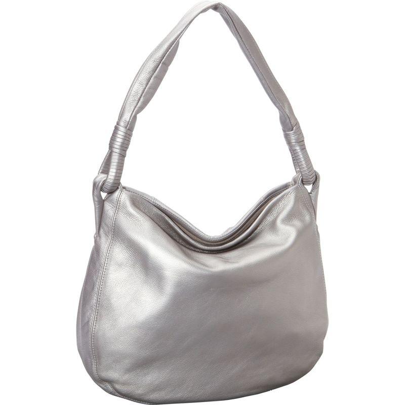 デレクアレクサンダー メンズ ハンドバッグ バッグ Inset Top Zip Hobo Silver/Metallic