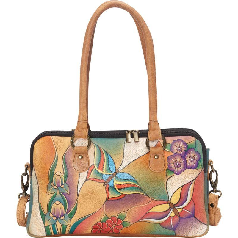 アンナバイアナシュカ メンズ ハンドバッグ バッグ Large Multi Compartment Satchel Butterfly Glass Painting