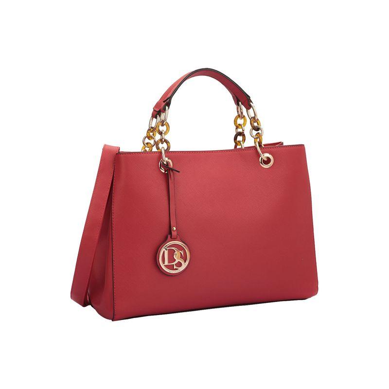 ダセイン メンズ ハンドバッグ バッグ Saffiano Faux Leather Chain Strap Satchel Red