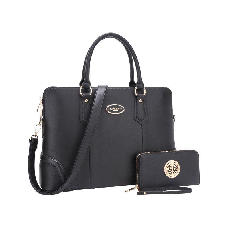 ダセイン メンズ ハンドバッグ バッグ Slim Briefcase with Matching Wallet Black