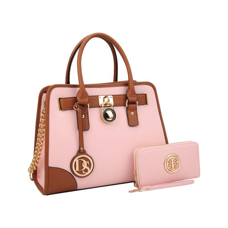 ダセイン メンズ ハンドバッグ バッグ Stripe Medium Satchel with Matching Wallet Pink
