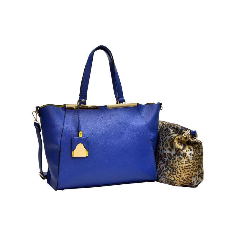 ダセイン メンズ ハンドバッグ バッグ Crosshatch Winged Gold-Tone Colorblock Satchel Blue