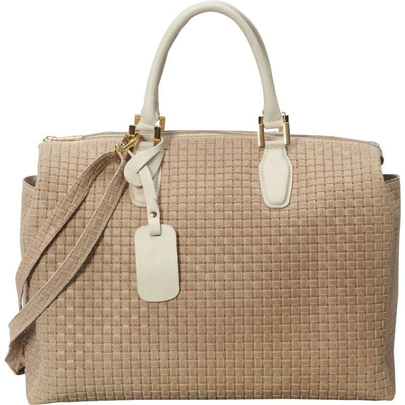 シャロレザーバッグス メンズ ハンドバッグ バッグ Large Woven Italian Leather Satchel Handbag Beige