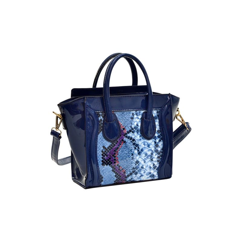 ダセイン メンズ ハンドバッグ バッグ Patent Leather with Snakeskin Detail Satchel Blue