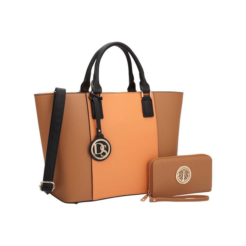 ダセイン メンズ ハンドバッグ バッグ Medium Classic Satchel with Matching Wallet Orange/Brown