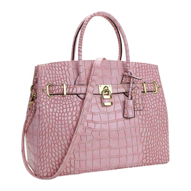 ダセイン メンズ ハンドバッグ バッグ Faux Leather Padlock Satchel Pink