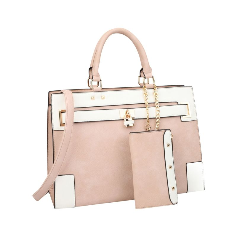 ダセイン メンズ ハンドバッグ バッグ Two Tone Padlock & Key Satchel with Shoulder Strap Pink/White