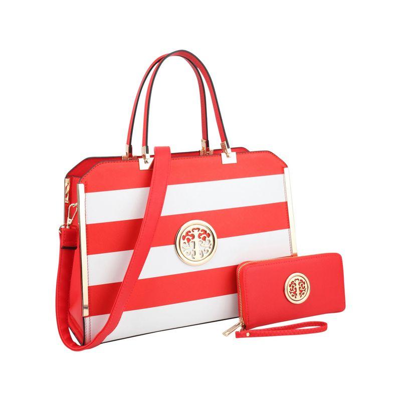 ダセイン メンズ ハンドバッグ バッグ Striped Faux Leather Briefcase Satchel with Matching Wallet Red/White