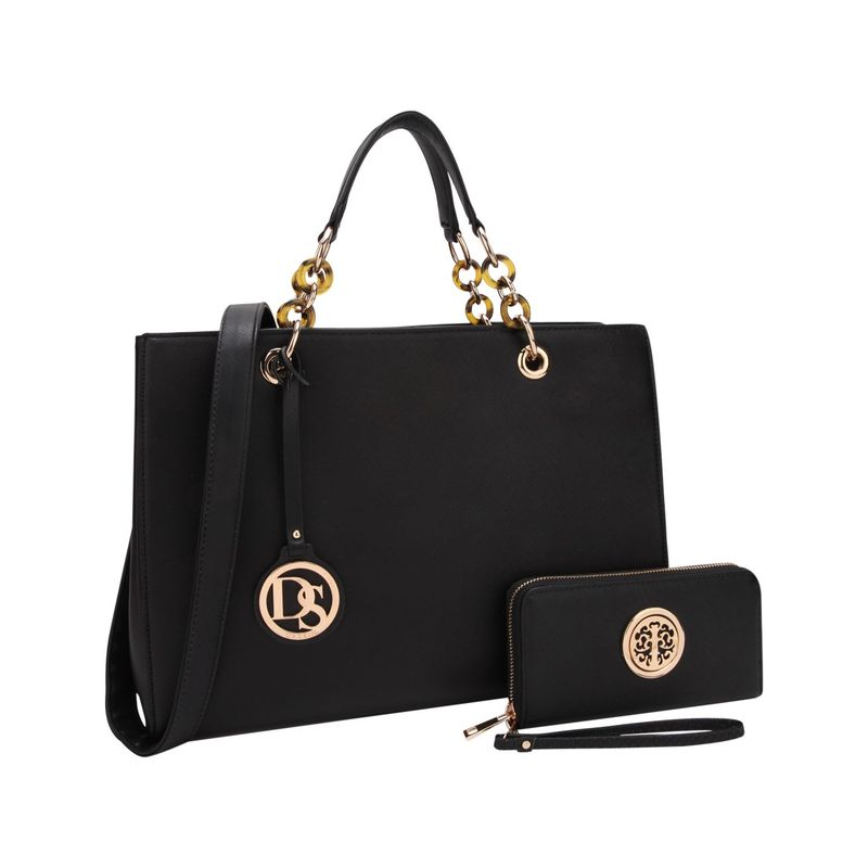 ダセイン メンズ ハンドバッグ バッグ Chain Strap Satchel with Matching Wallet Black