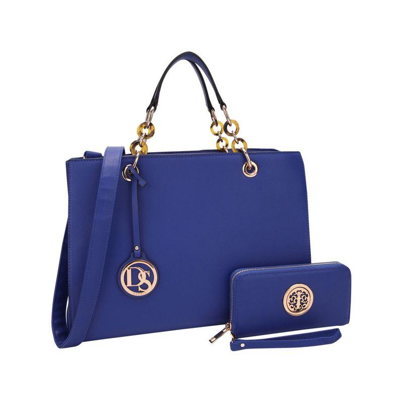 ダセイン メンズ ハンドバッグ バッグ Chain Strap Satchel with Matching Wallet Blue