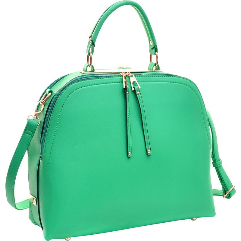 ダセイン メンズ ハンドバッグ バッグ Faux Leather Dome Satchel with Zipper Closure Green
