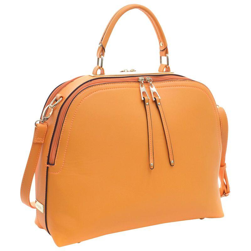 ダセイン メンズ ハンドバッグ バッグ Faux Leather Dome Satchel with Zipper Closure Orange