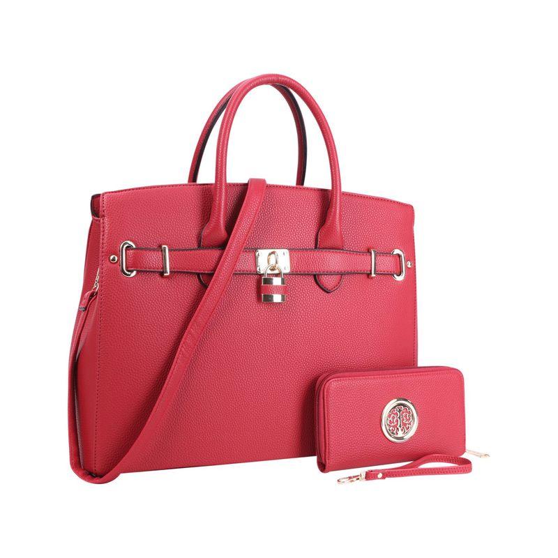 ダセイン メンズ ハンドバッグ バッグ Faux Leather Satchel with Matching Wallet Red