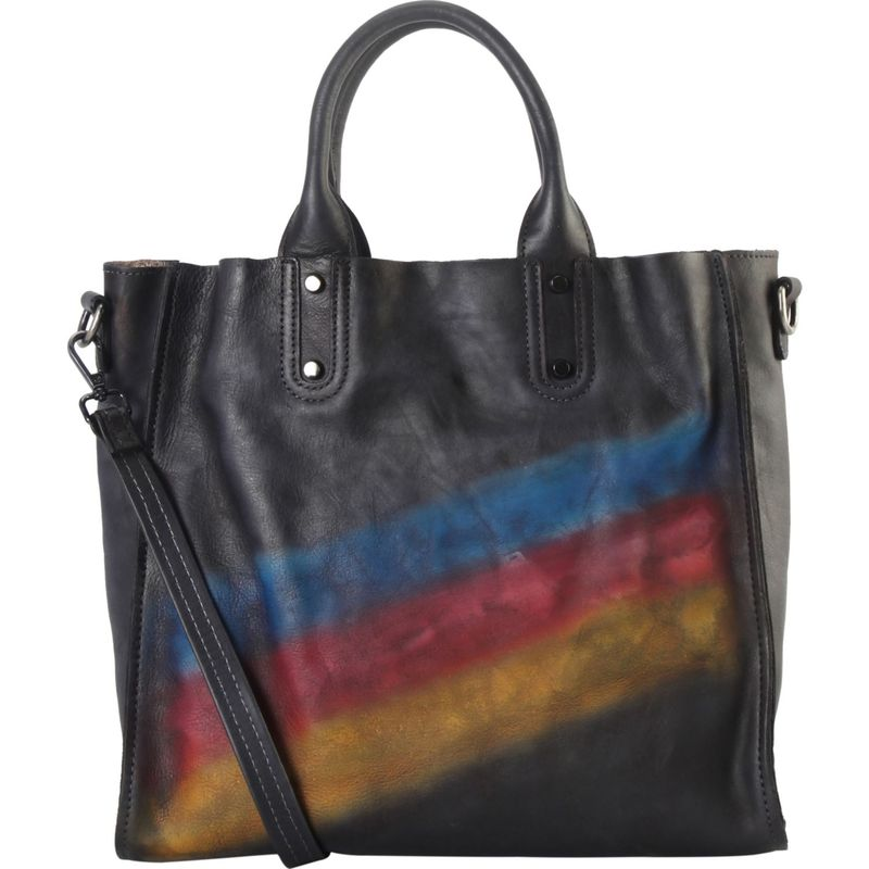 ディオフィ メンズ ハンドバッグ バッグ Tricolor Stripes Large Tote with Removable Strap Black