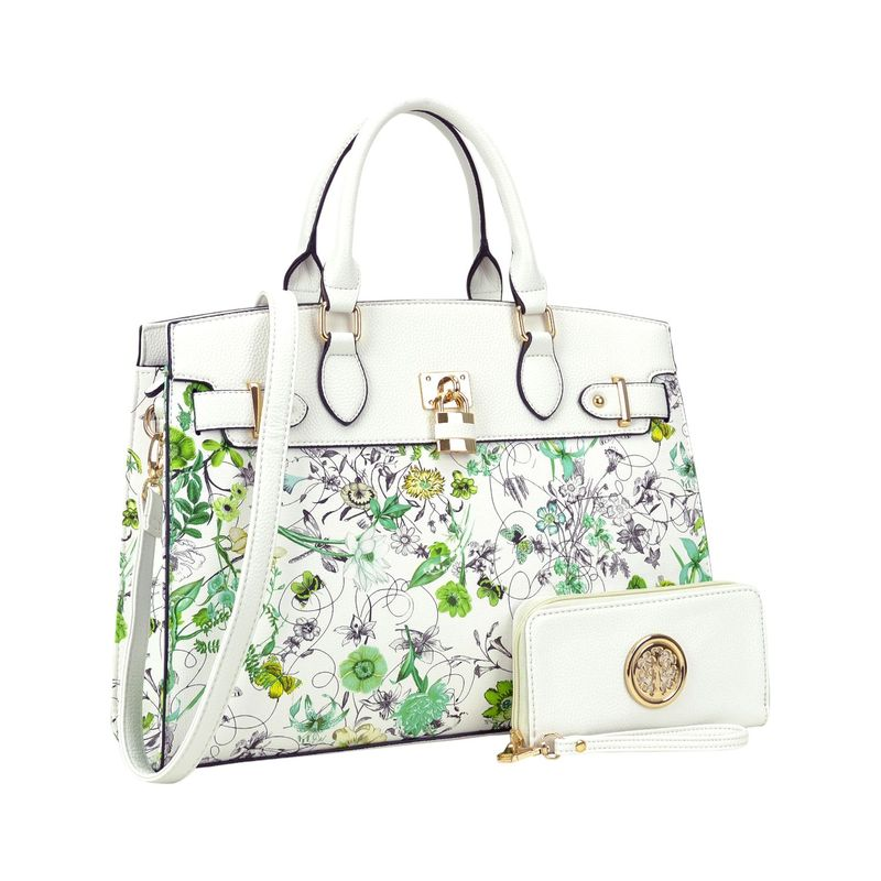 ダセイン メンズ ハンドバッグ バッグ Two Tone Padlock Satchel with Matching Wallet White Flower