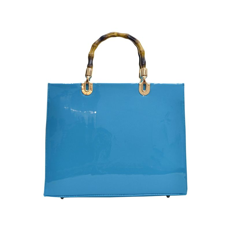ダセイン メンズ ハンドバッグ バッグ Wooden Handle Patent Leather Satchel Blue