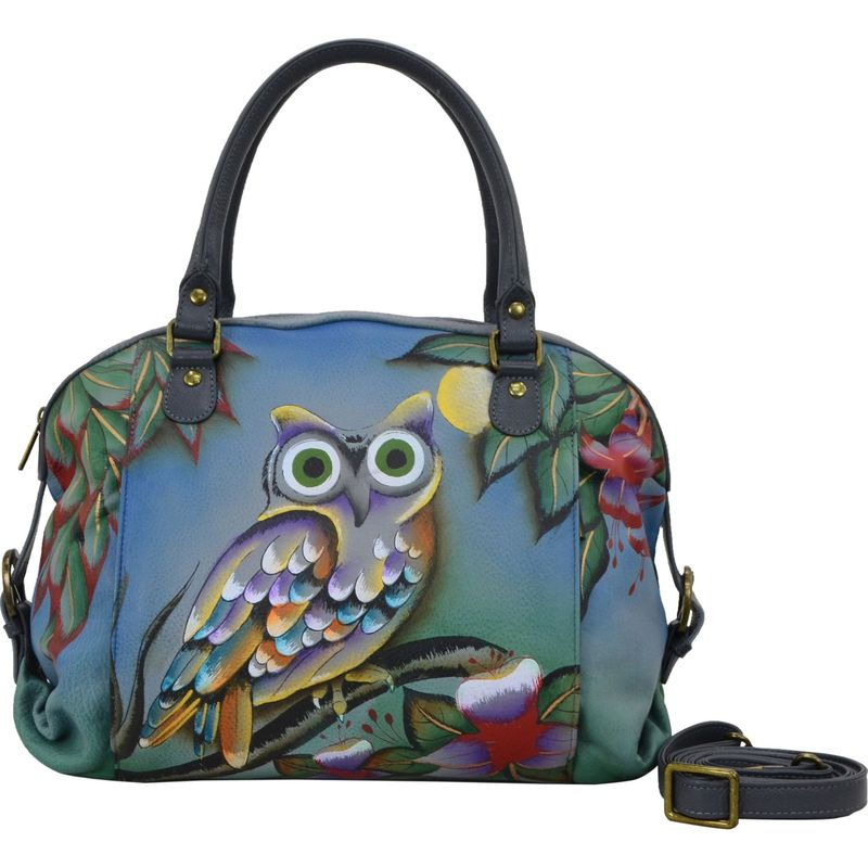 アンナバイアナシュカ メンズ ハンドバッグ バッグ Hand Painted Top Zip Dual Front Pocket Satchel Midnight Owl