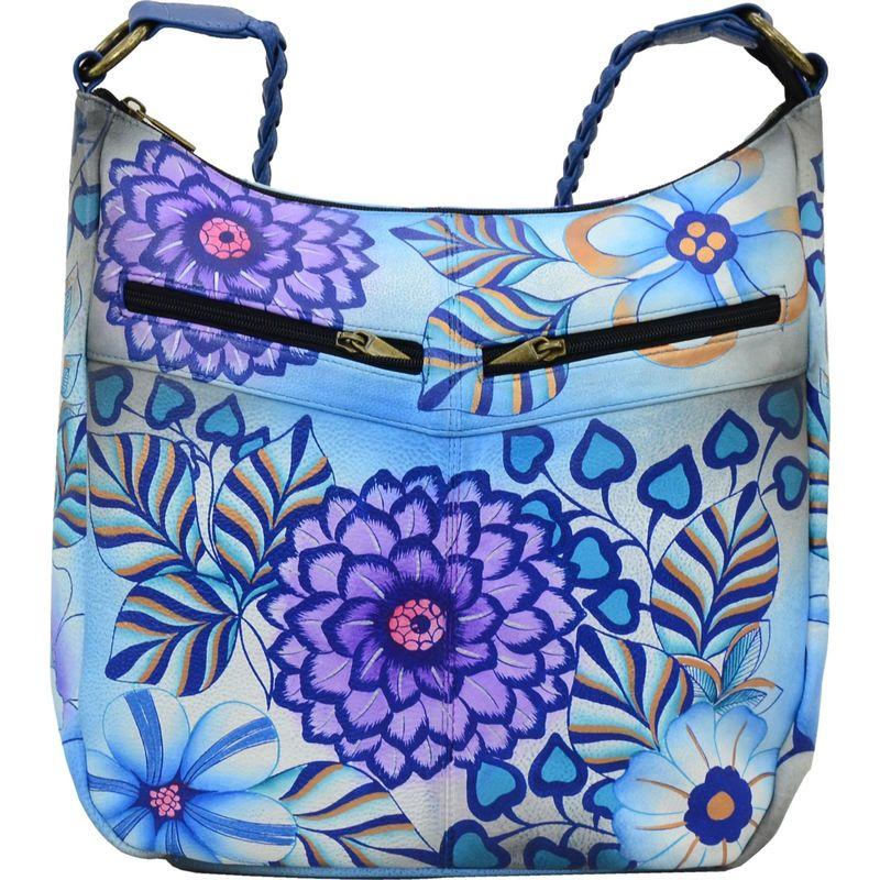 アンナバイアナシュカ メンズ ハンドバッグ バッグ Hand Painted Leather Shoulder Hobo Summer Bloom Blue