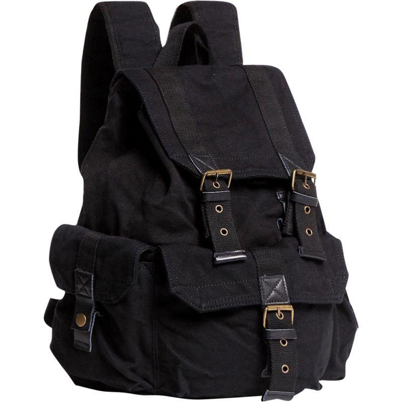 ヴァガボンドトラベラー メンズ バックパック・リュックサック バッグ Large Washed Canvas Backpack Black