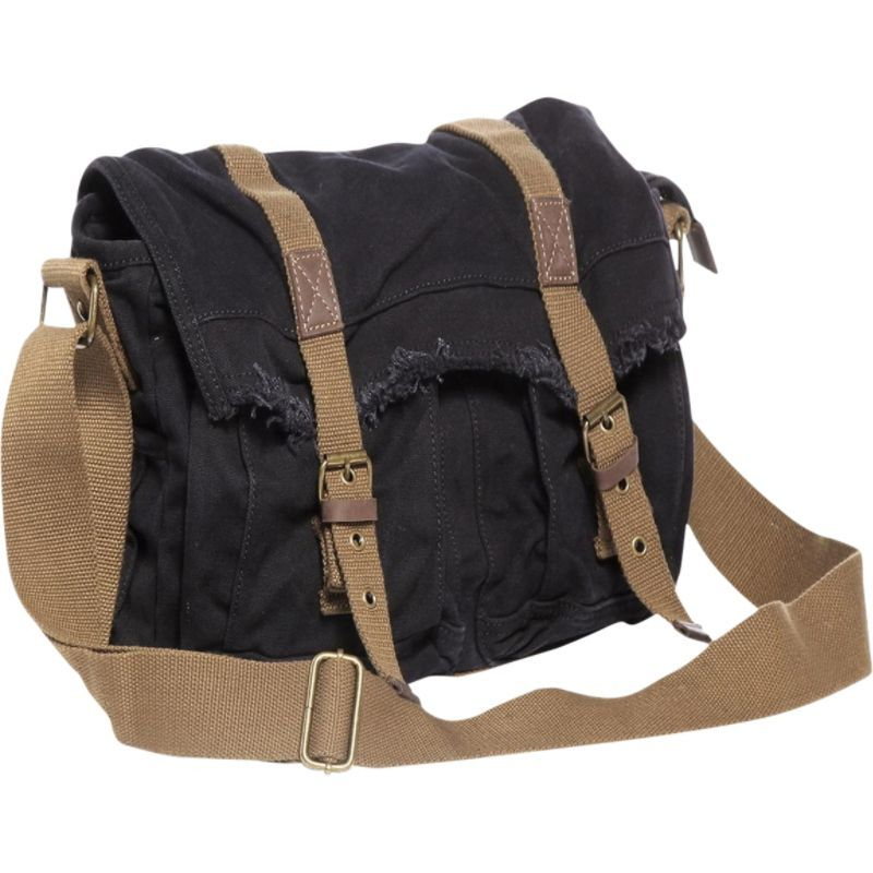 ヴァガボンドトラベラー メンズ ショルダーバッグ バッグ Vintage Style Large Canvas Messenger Bag Black