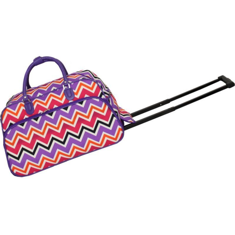 ワールドトラベラー メンズ スーツケース バッグ Chevron Multi 21 Rolling Duffel Bag Purple Trim Chevron Multi