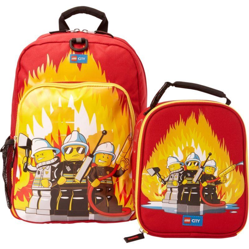 レゴ メンズ バックパック・リュックサック バッグ City Fire Backpack & Lunch RED