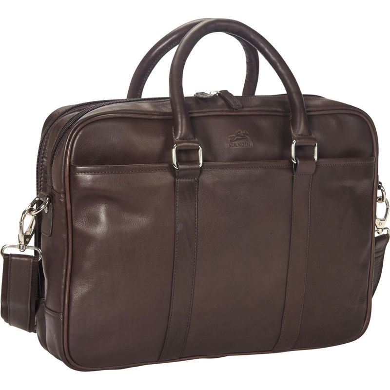 マンシニレザーグッズ メンズ スーツケース バッグ Colombian Double Compartment 15.6 Laptop/Tablet Zippered Briefcase Brown