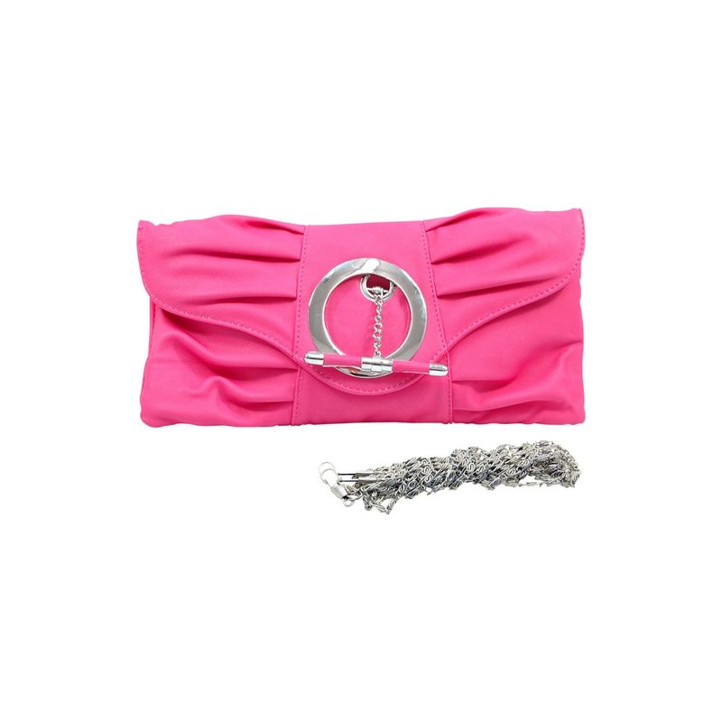 ダセイン メンズ セカンドバッグ・クラッチバッグ バッグ Pleated Front Clutch Purse with Ring Hot Pink