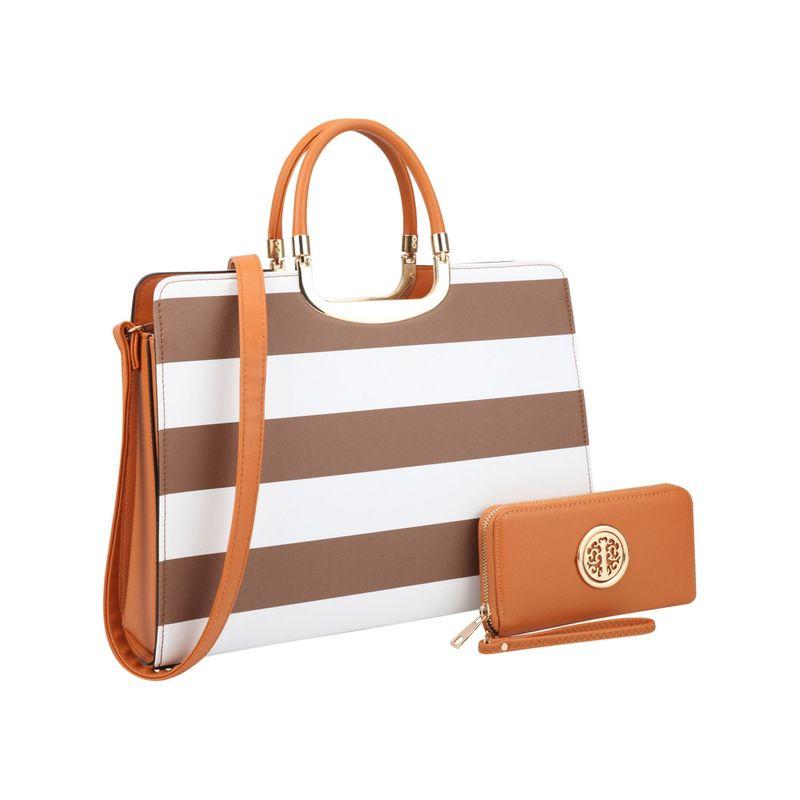 ダセイン メンズ ハンドバッグ バッグ Patent Striped Briefcase Satchel with Matching Wallet Coffee/White