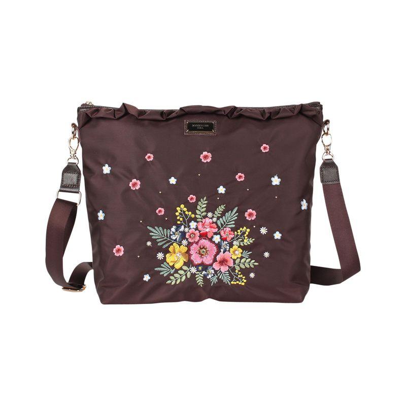ニコルリー メンズ ボディバッグ・ウエストポーチ バッグ Garden Embroidery Design Crossbody Brown