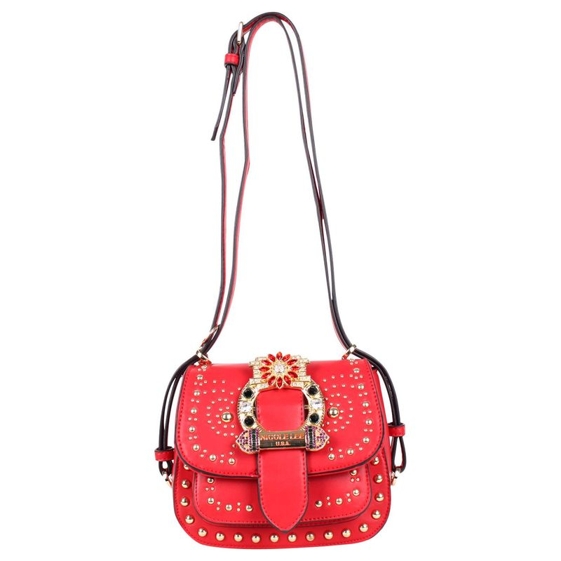 ニコルリー メンズ ボディバッグ・ウエストポーチ バッグ Bedazzled Buckle Belt Mini Saddle Bag Red