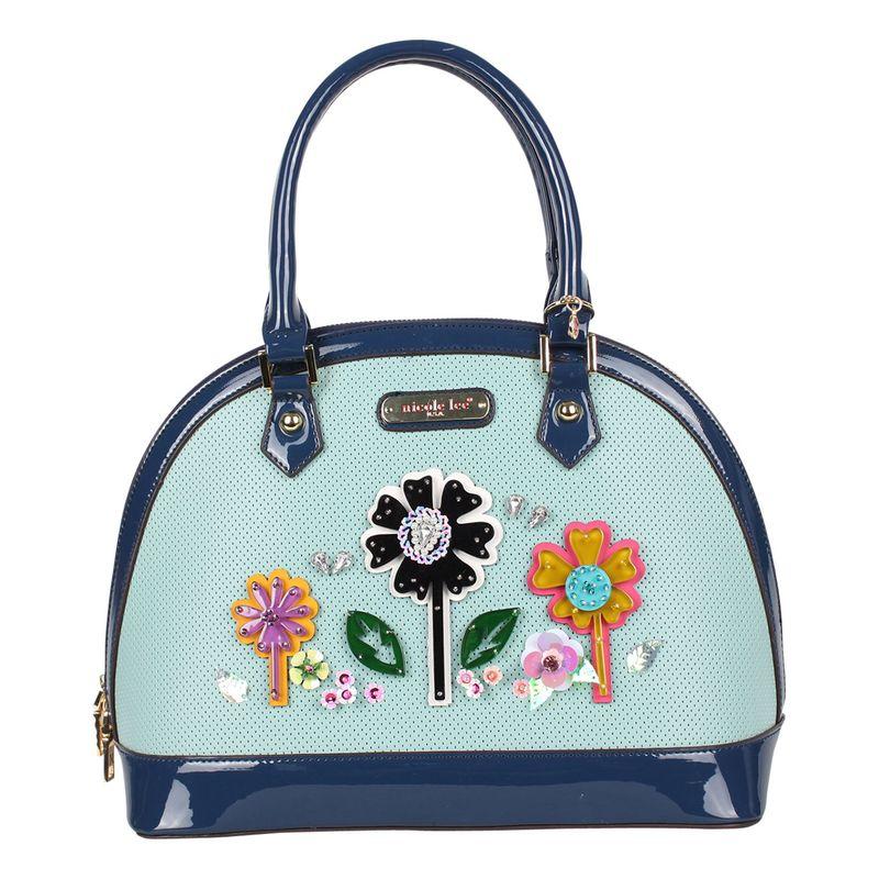 ニコルリー メンズ ショルダーバッグ バッグ Laser Cut Pop Flowers Dome Shoulder Bag Blue