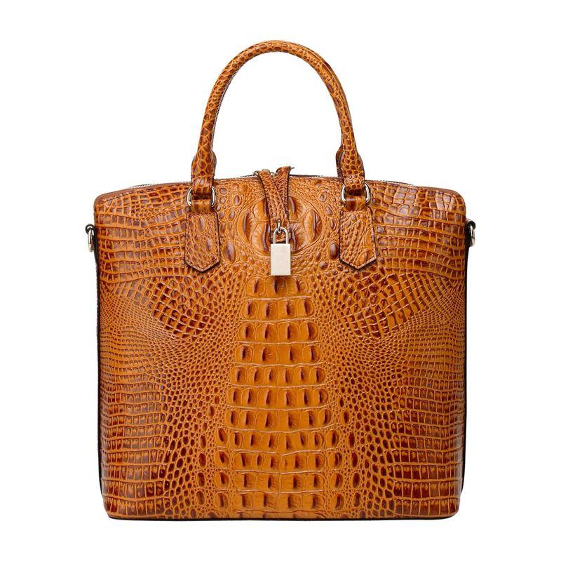 ビンセンゾレザー メンズ トートバッグ バッグ Dione Croc Embossed Top Handle Leather Tote Brown