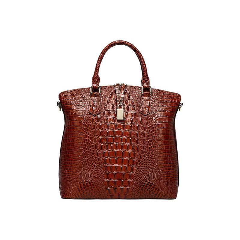 ビンセンゾレザー メンズ トートバッグ バッグ Dione Croc Embossed Top Handle Leather Tote Red