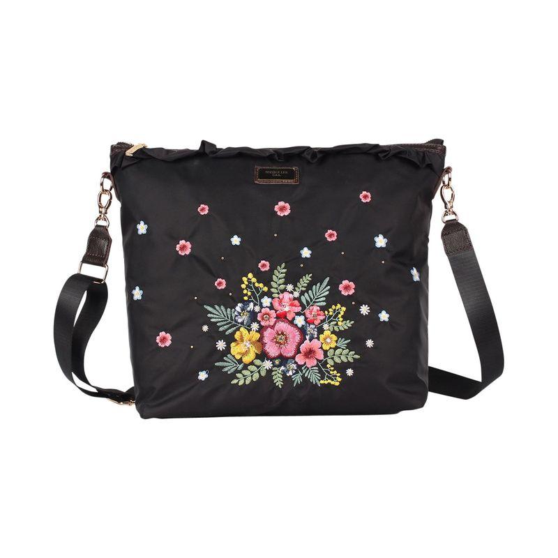 ニコルリー メンズ ボディバッグ・ウエストポーチ バッグ Garden Embroidery Design Crossbody Black