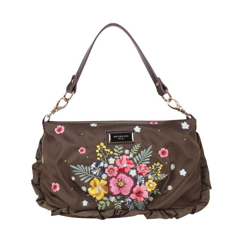 ニコルリー メンズ ボディバッグ・ウエストポーチ バッグ Floral Embroidery Design Small Crossbody Khaki