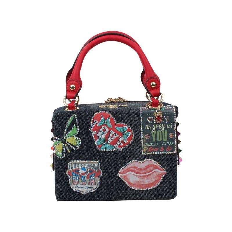 ニコルリー メンズ ショルダーバッグ バッグ Thea Denim Patch Mini Shoulder Bag Patch