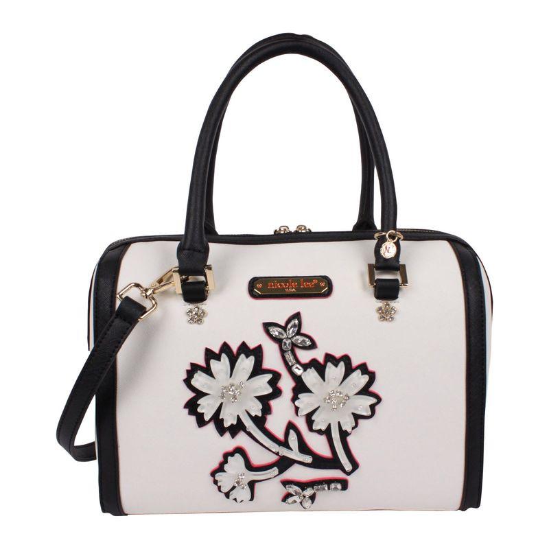 ニコルリー メンズ ショルダーバッグ バッグ Daria Flower Embellished Boston Shoulder Bag White