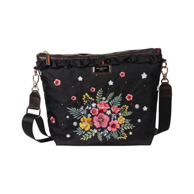 ニコルリー メンズ ボディバッグ・ウエストポーチ バッグ Adira Garden Embroidery Mini Crossbody Black