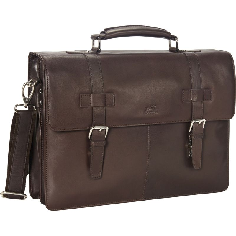 マンシニレザーグッズ メンズ スーツケース バッグ Colombian Double Compartment 15.6 Laptop/Tablet Flap Briefcase Brown